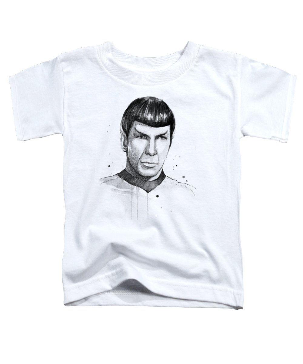 Star Trek Toddler T-Shirt featuring the painting Spock Watercolor Portrait by Olga Shvartsur