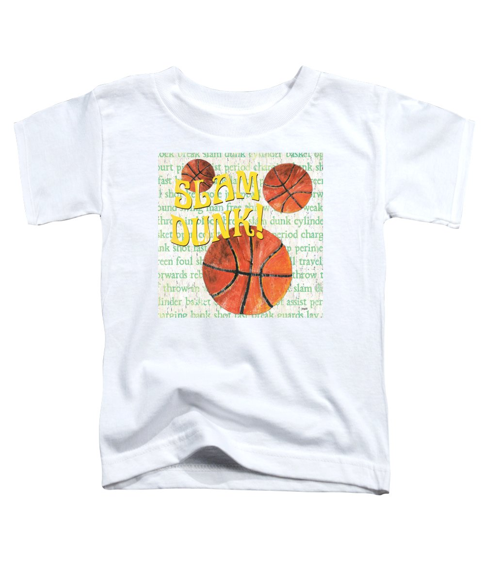 Basketball Toddler T-Shirt featuring the painting Sports Fan Basketball by Debbie DeWitt