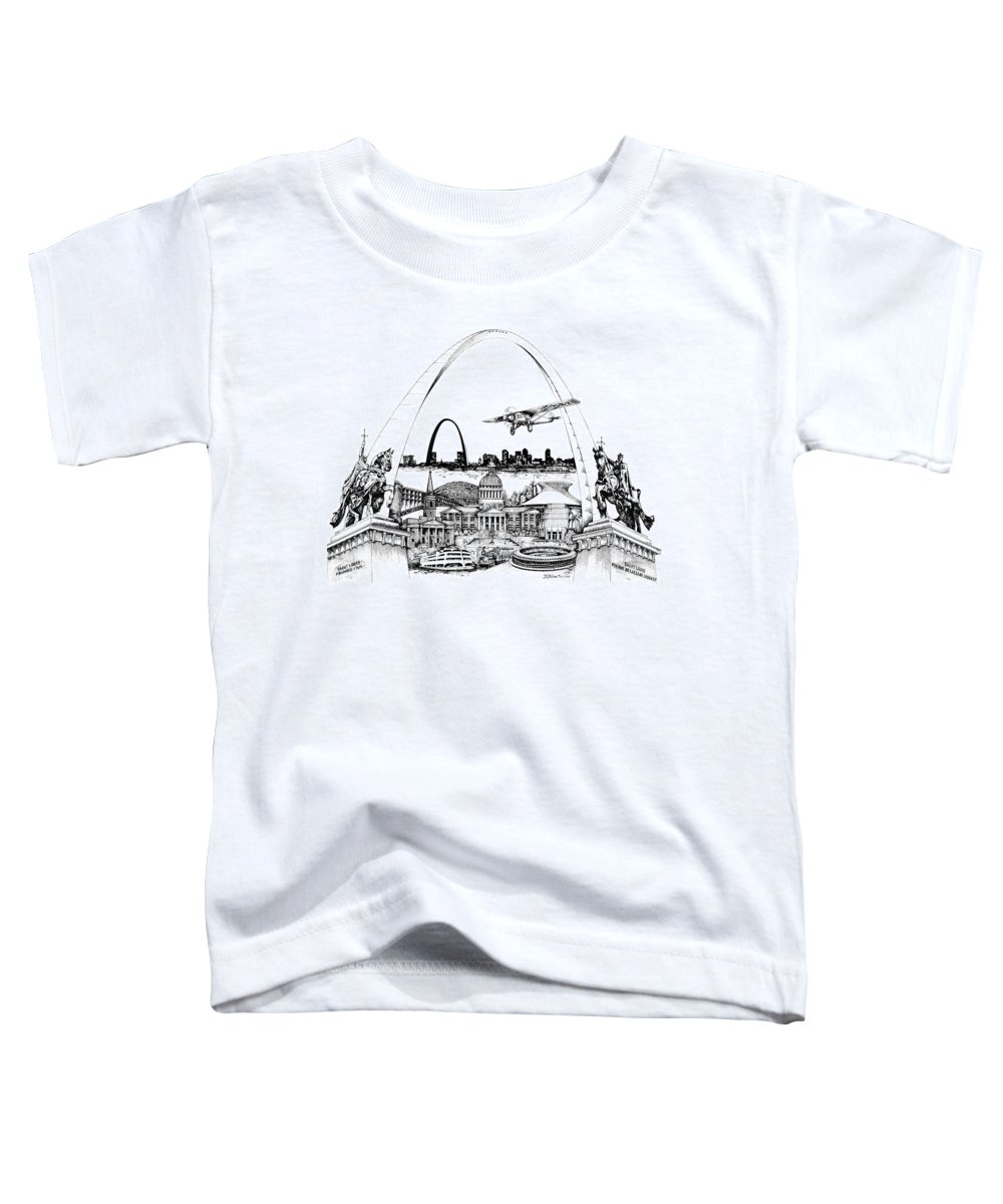 City Drawing Toddler T-Shirt featuring the drawing St. Louis Highlights Version 1 by Dennis Bivens