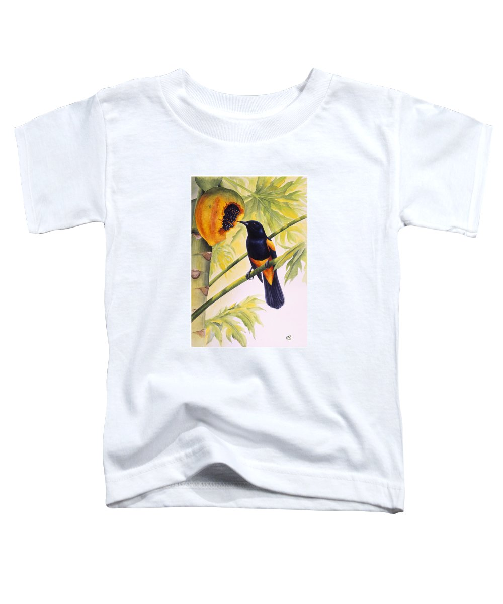 Chris Cox Toddler T-Shirt featuring the painting St. Lucia Oriole And Papaya by Christopher Cox