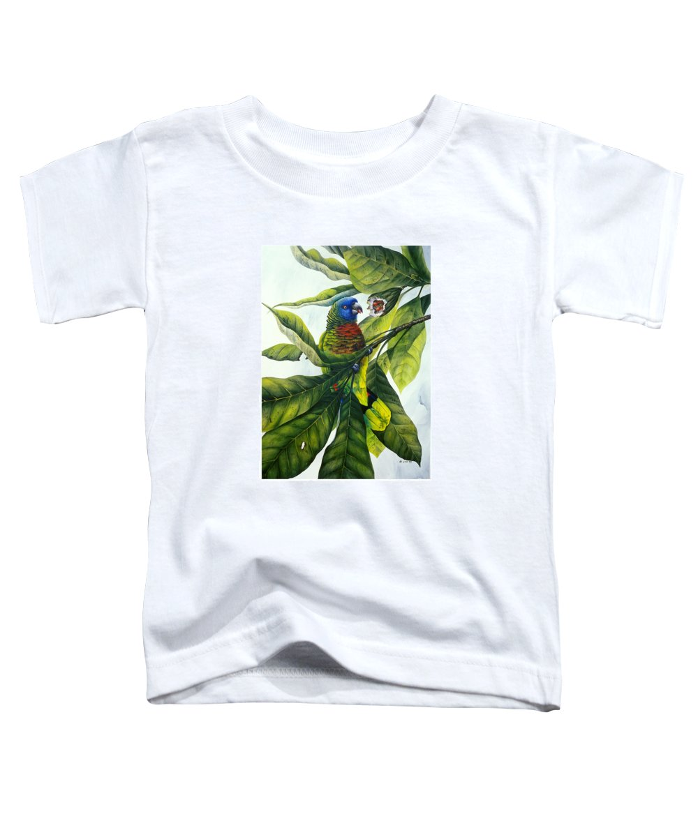 Chris Cox Toddler T-Shirt featuring the painting St. Lucia Parrot And Fruit by Christopher Cox