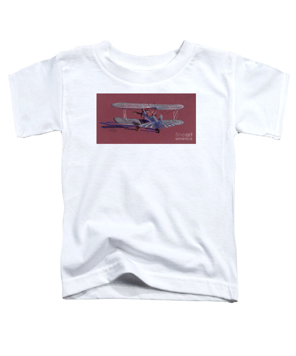 Steerman Biplane Toddler T-Shirt featuring the drawing Steerman Biplane by Donald Maier