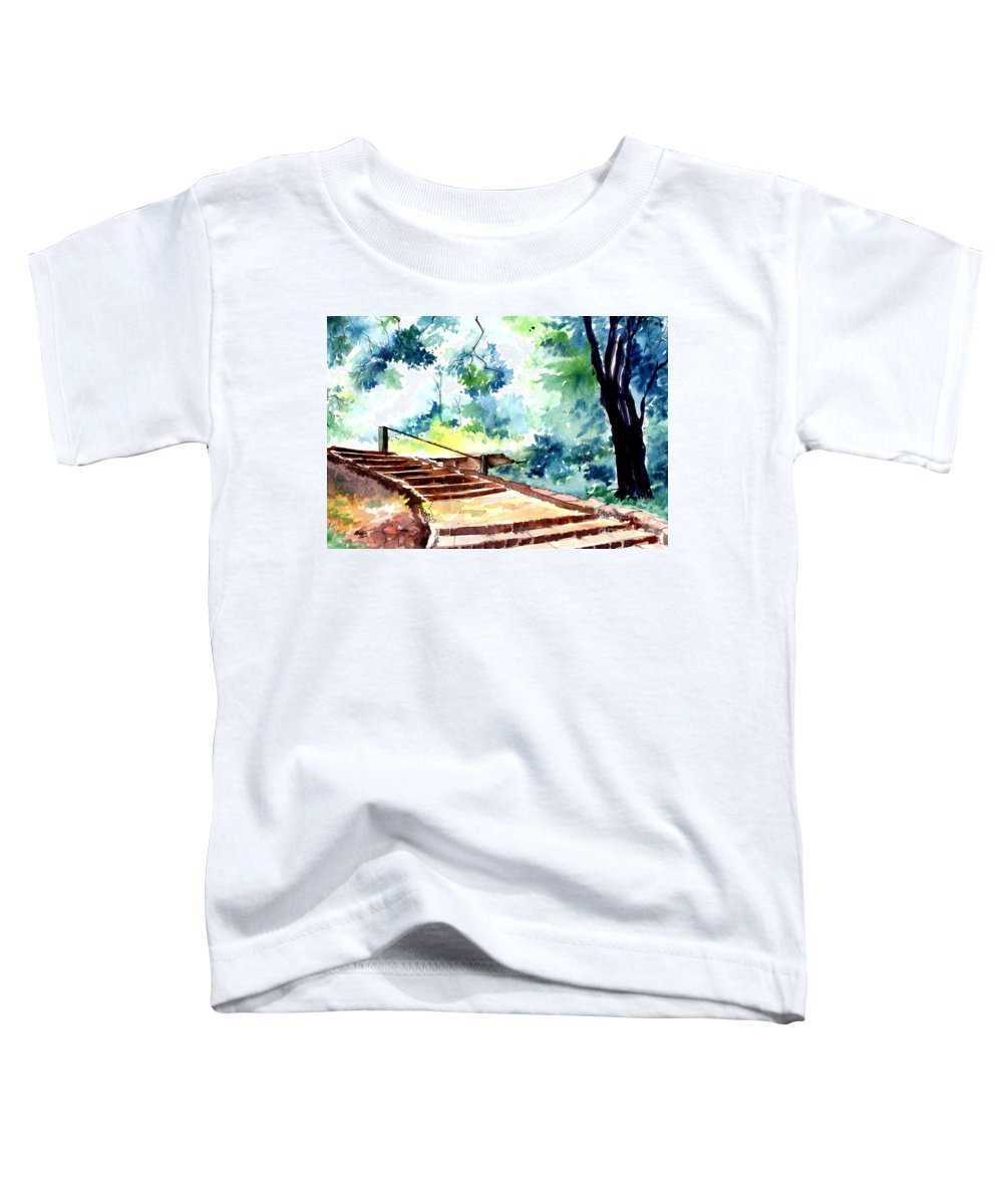 Landscape Toddler T-Shirt featuring the painting Steps To Eternity by Anil Nene
