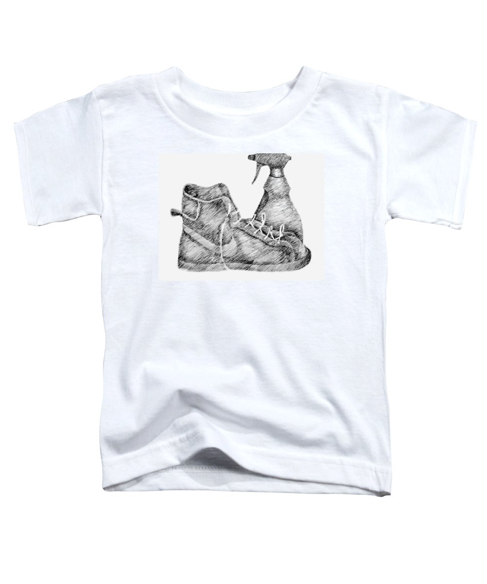 Pen Toddler T-Shirt featuring the drawing Still Life With Shoe And Spray Bottle by Michelle Calkins