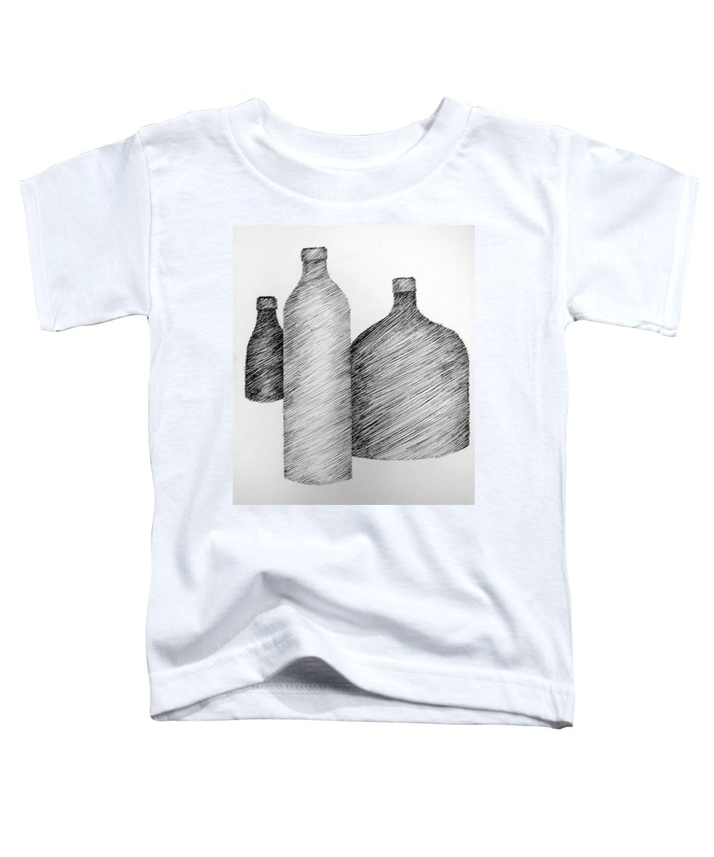 Still Life Toddler T-Shirt featuring the drawing Still Life With Three Bottles by Michelle Calkins