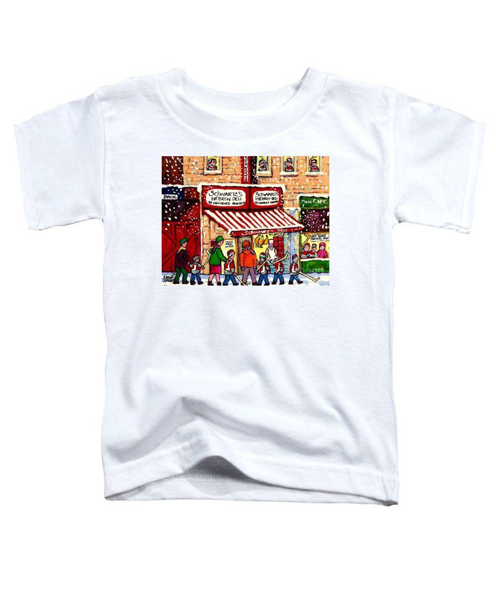 Montreal Toddler T-Shirt featuring the painting Sunday Lineup At The Deli by Carole Spandau