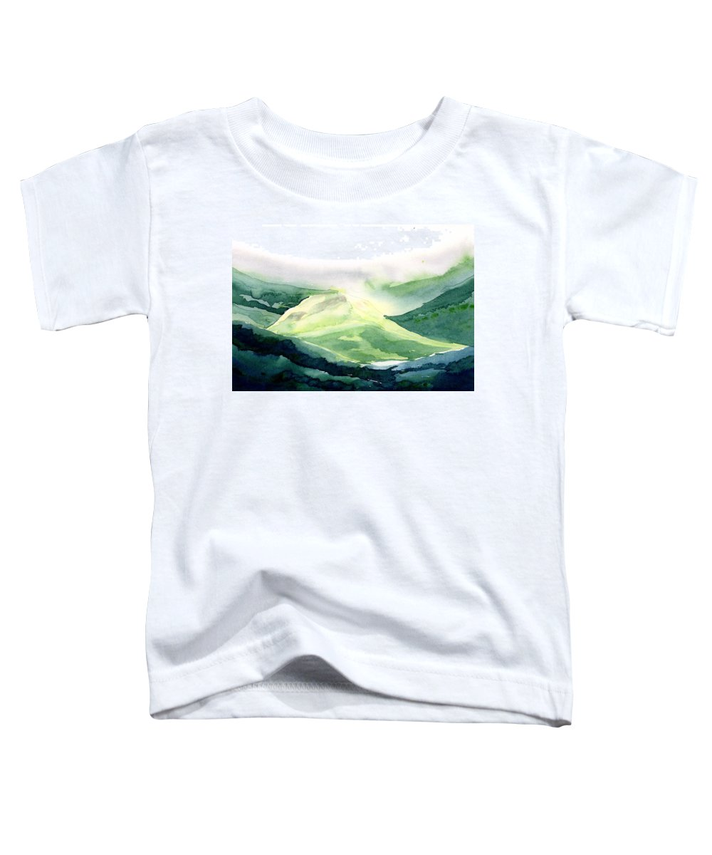 Landscape Toddler T-Shirt featuring the painting Sunlit Mountain by Anil Nene