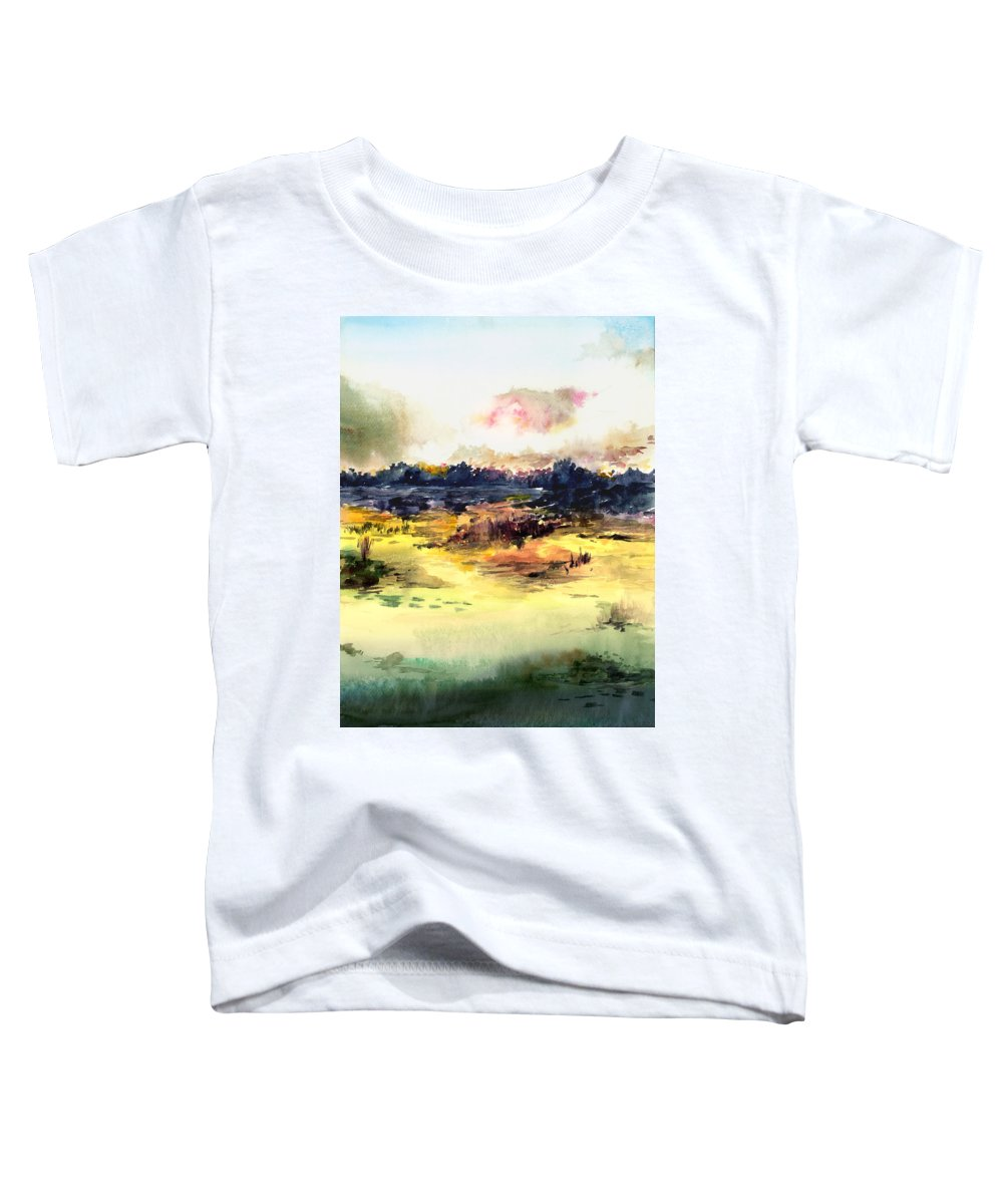 Landscape Water Color Sky Sunrise Water Watercolor Digital Mixed Media Toddler T-Shirt featuring the painting Sunrise by Anil Nene