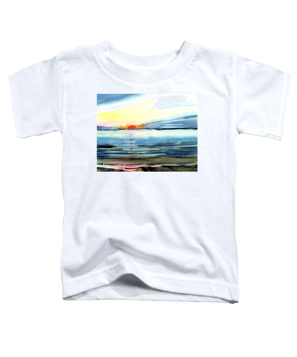 Landscape Seascape Ocean Water Watercolor Sunset Toddler T-Shirt featuring the painting Sunset by Anil Nene
