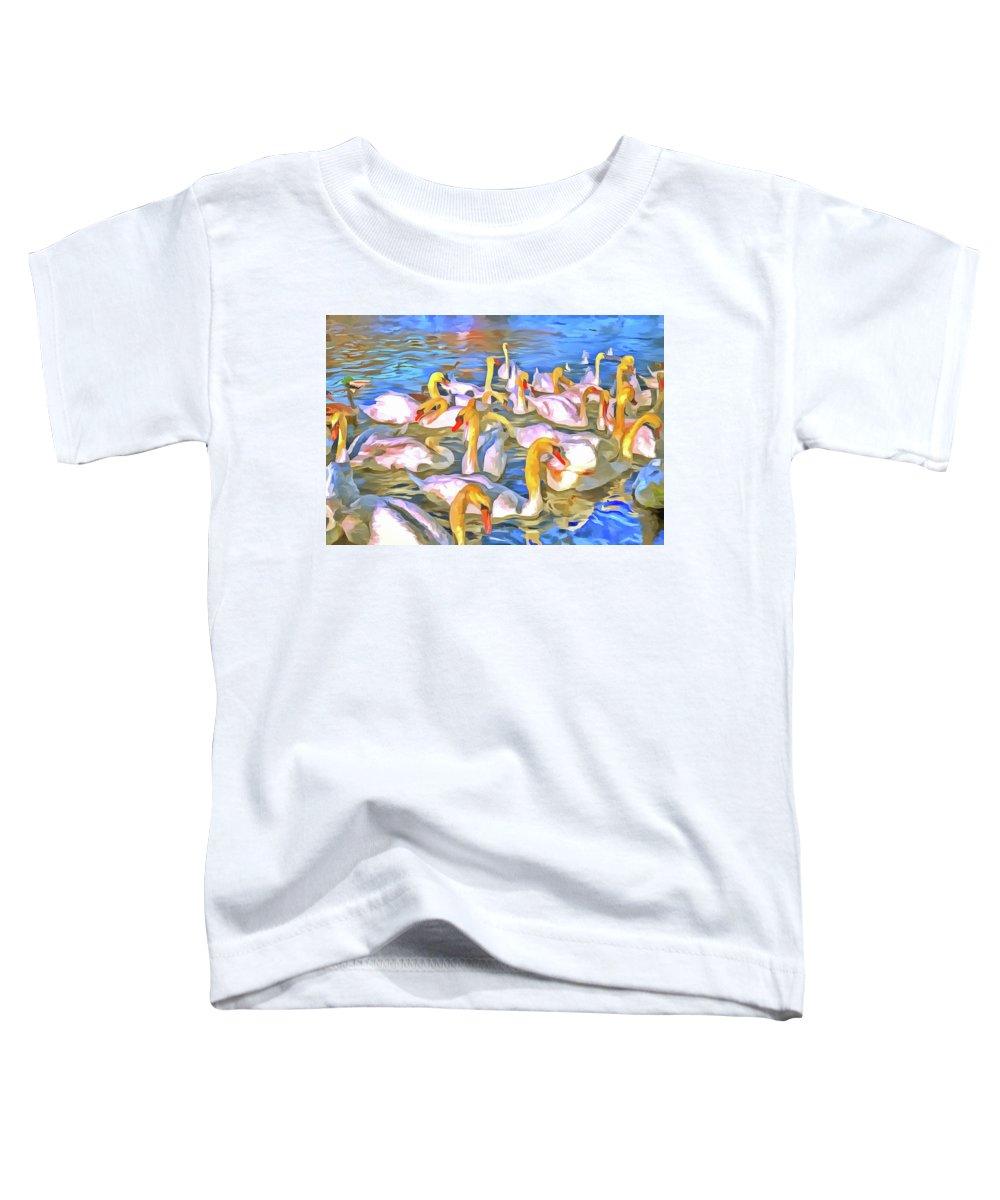 Pop Art Toddler T-Shirt featuring the photograph Swans Pop Art by David Pyatt
