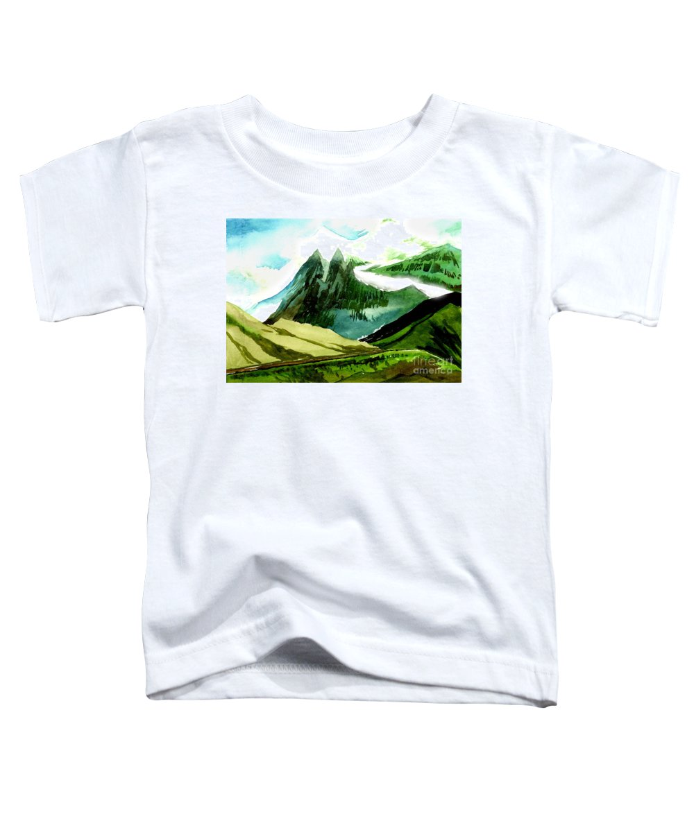 Landscape Toddler T-Shirt featuring the painting Switzerland by Anil Nene