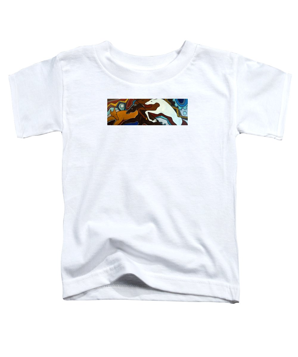 Horse Abstract Toddler T-Shirt featuring the painting Taffy Horses by Valerie Vescovi