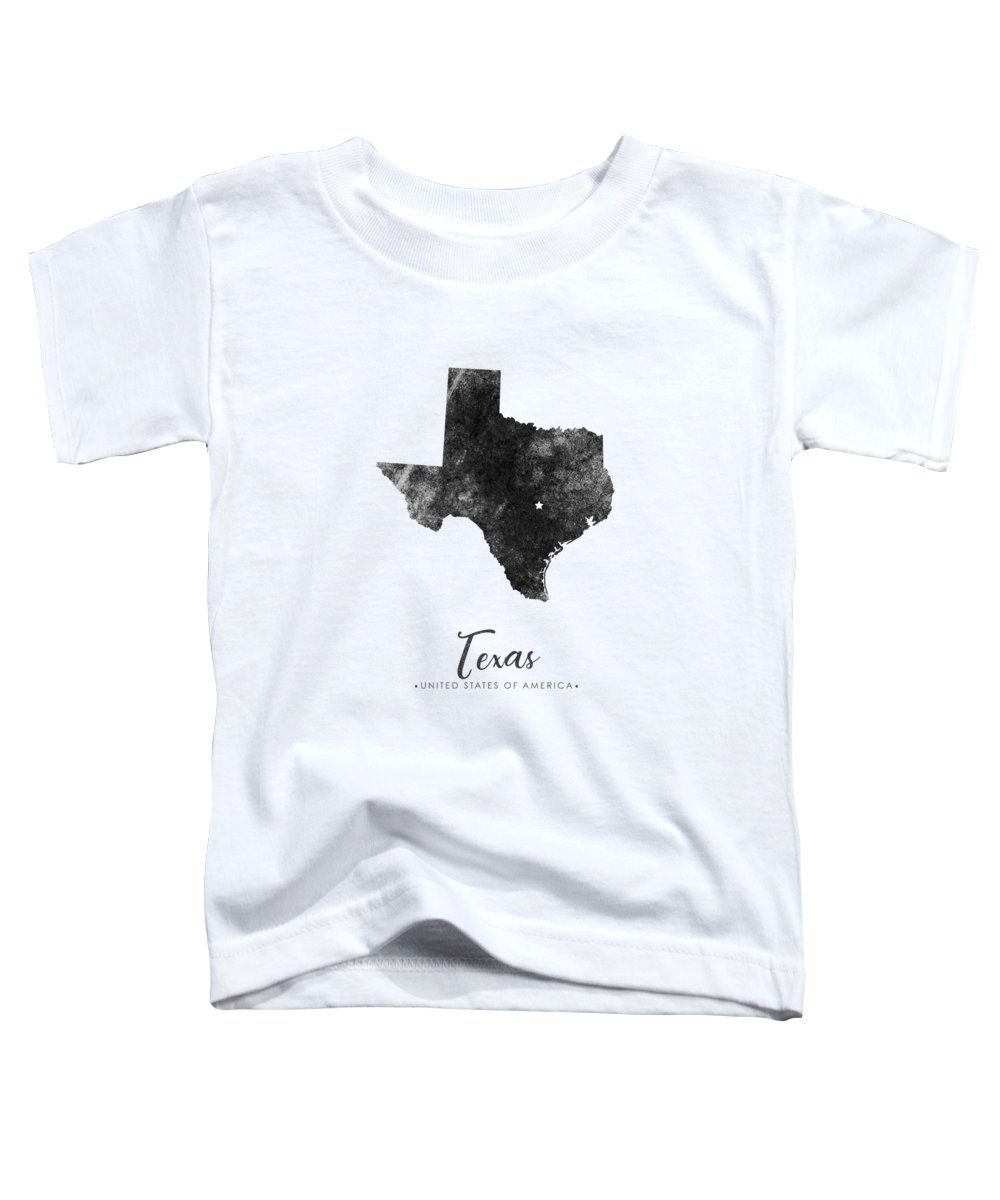 Texas Toddler T-Shirt featuring the mixed media Texas State Map Art - Grunge Silhouette by Studio Grafiikka