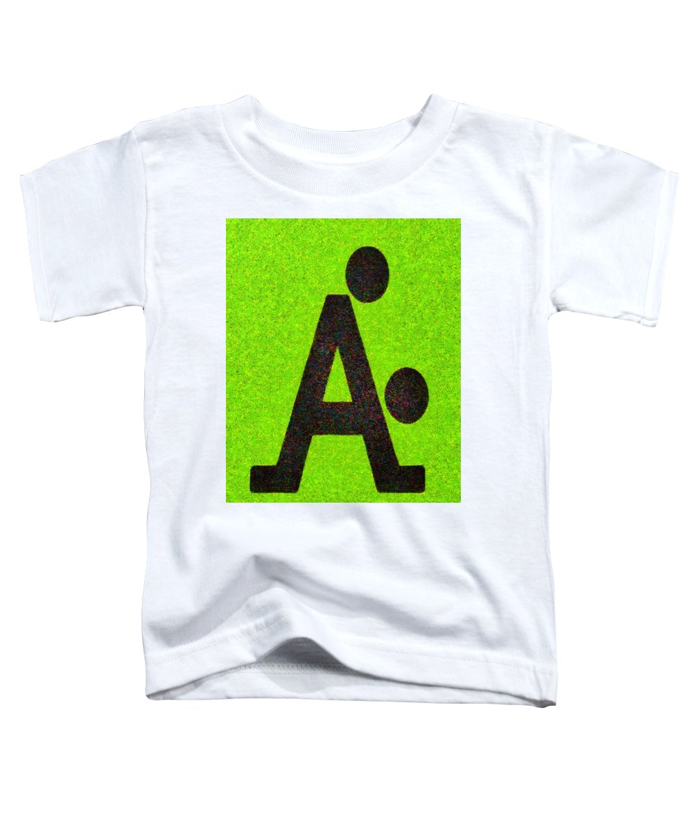 Letter A Toddler T-Shirt featuring the painting The A With Style Lime - Pa by Leonardo Digenio