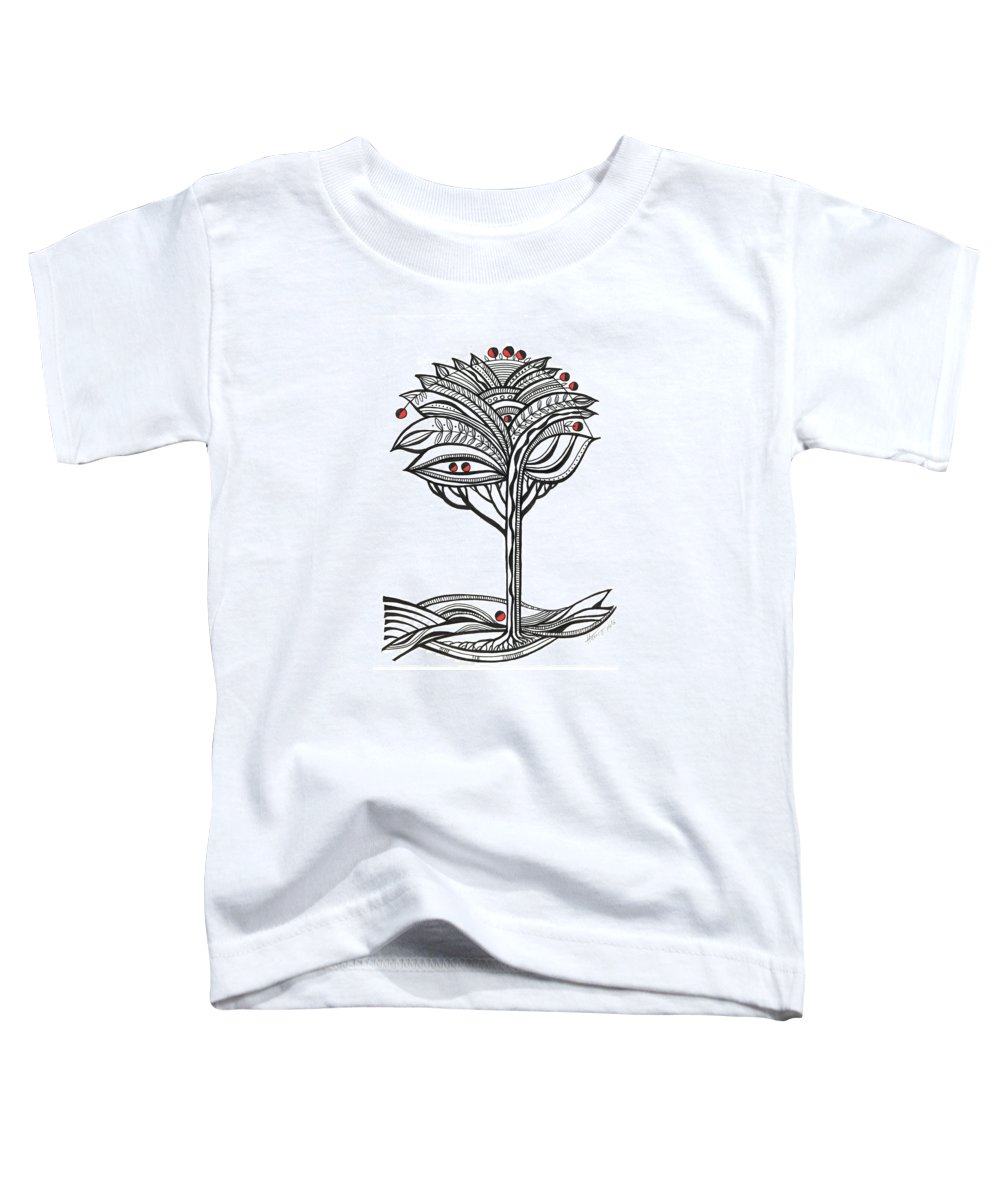 Abstract Toddler T-Shirt featuring the drawing The Apple Tree by Aniko Hencz