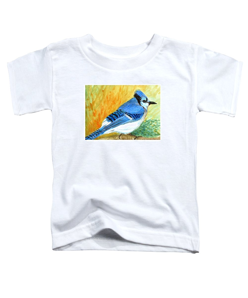 Bird Toddler T-Shirt featuring the painting The Blue Jay by Asha Sudhaker Shenoy