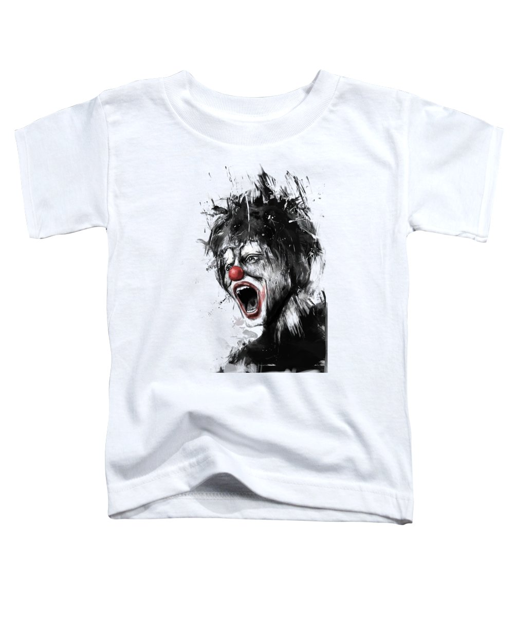 Clown Toddler T-Shirt featuring the mixed media The Clown by Balazs Solti