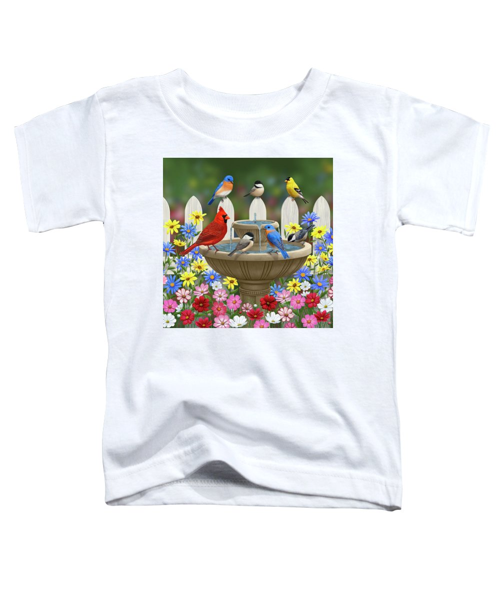 Birds Toddler T-Shirt featuring the painting The Colors Of Spring - Bird Fountain In Flower Garden by Crista Forest