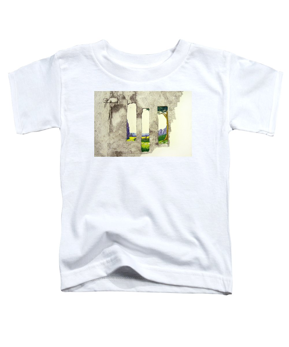 Imaginary Landscape. Toddler T-Shirt featuring the painting The Garden by A Robert Malcom