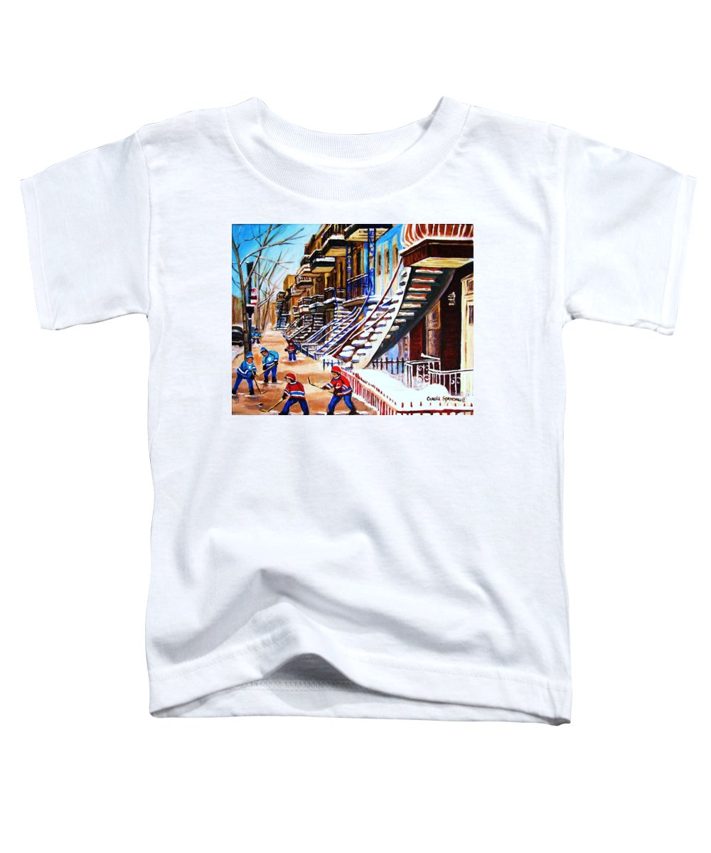Hockey Toddler T-Shirt featuring the painting The Gray Staircase by Carole Spandau