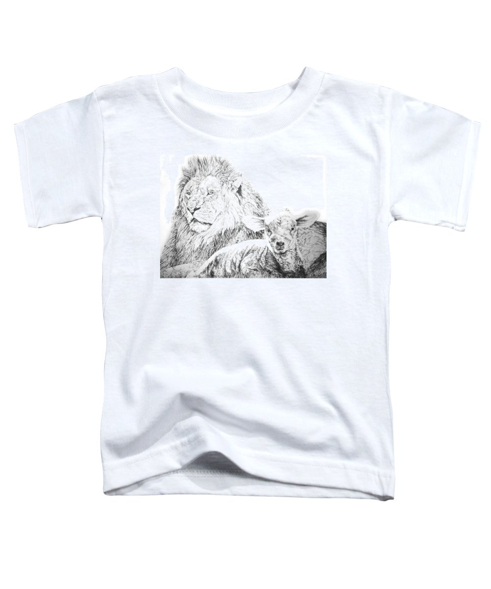Lion Toddler T-Shirt featuring the drawing The Lion And The Lamb by Bryan Bustard