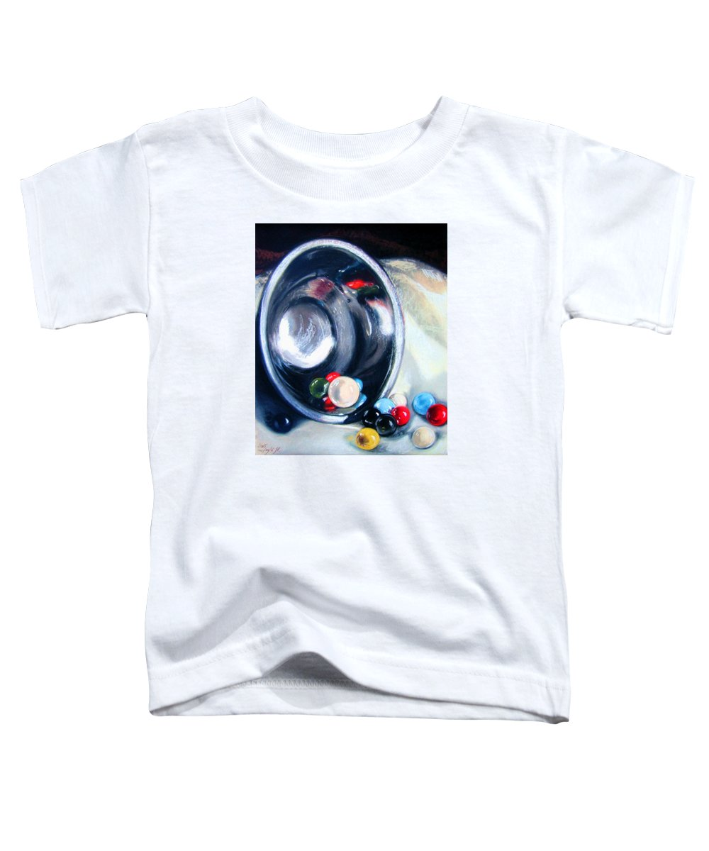 Marbles Toddler T-Shirt featuring the pastel The Marble Bowl by Leyla Munteanu