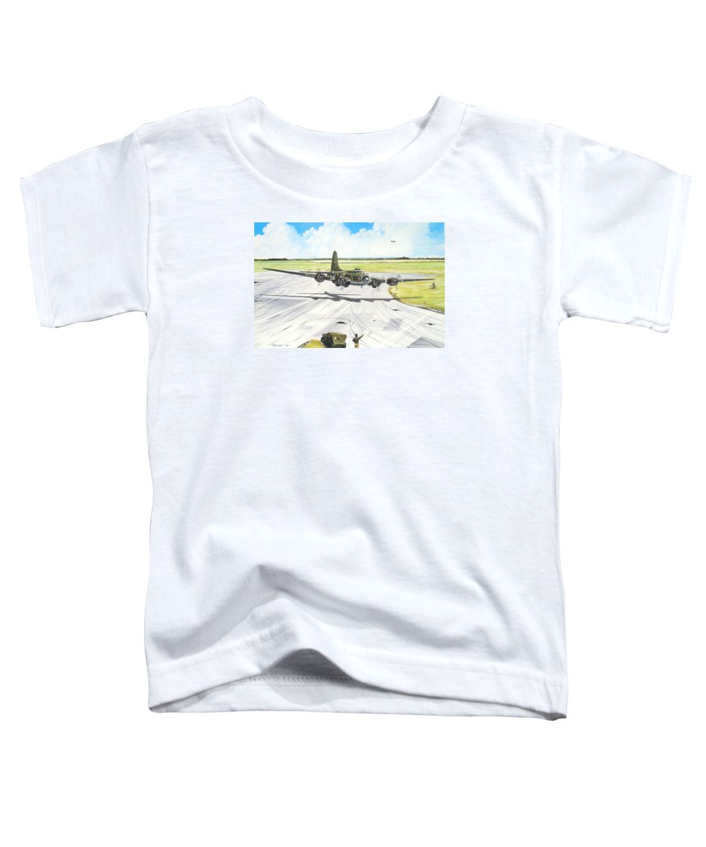 Military Toddler T-Shirt featuring the painting The Memphis Belle by Marc Stewart