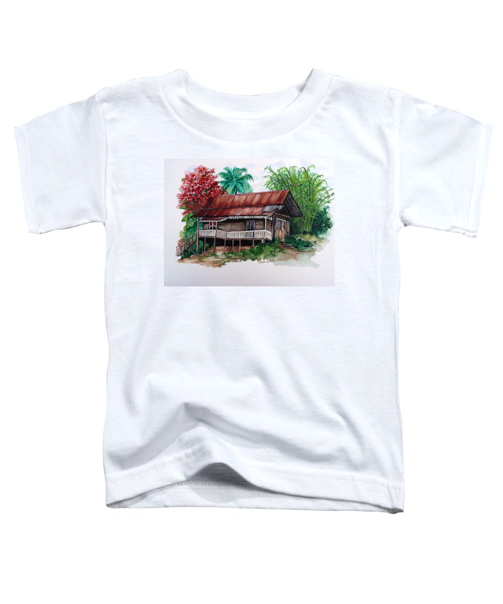 Tropical Painting Poincianna Painting Caribbean Painting Old House Painting Cocoa House Painting Trinidad And Tobago Painting  Tropical Painting Flamboyant Painting Poinciana Red Greeting Card Painting Toddler T-Shirt featuring the painting The Old Cocoa House by Karin Dawn Kelshall- Best