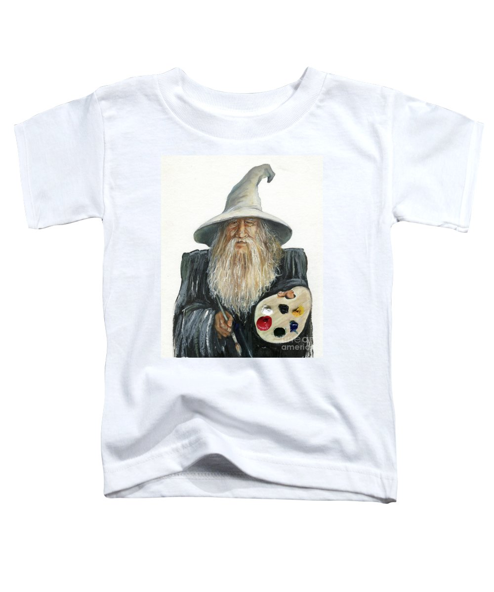 Wizard Toddler T-Shirt featuring the painting The Painting Wizard by J W Baker