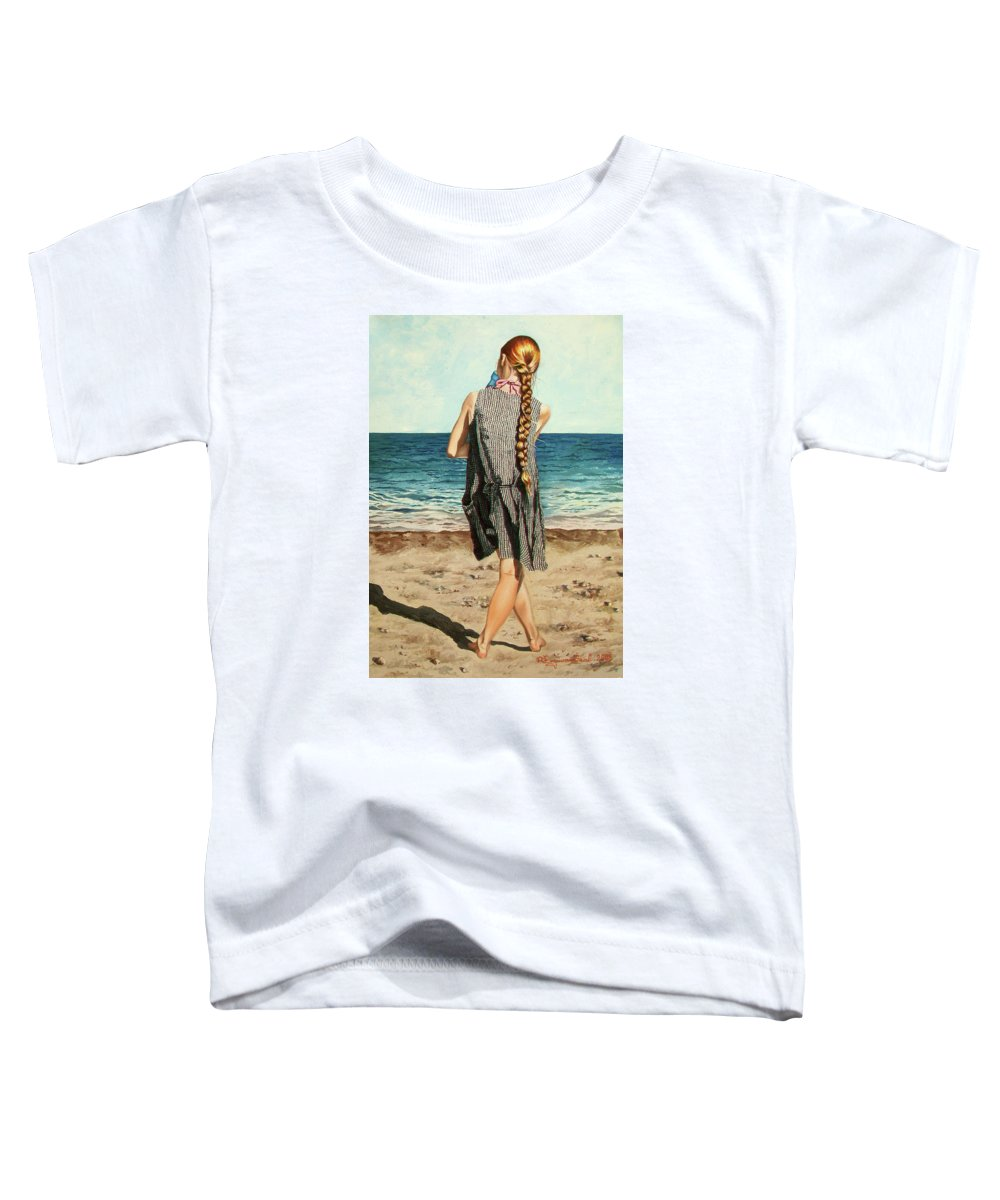 Sea Toddler T-Shirt featuring the painting The Secret Beauty - La Belleza Secreta by Rezzan Erguvan-Onal