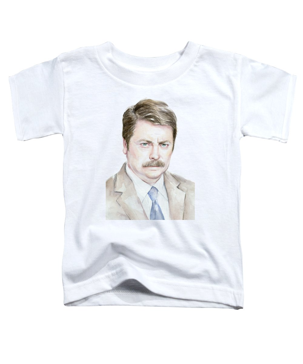 Swanson Toddler T-Shirt featuring the painting Ron Swanson Watercolor Portrait by Olga Shvartsur