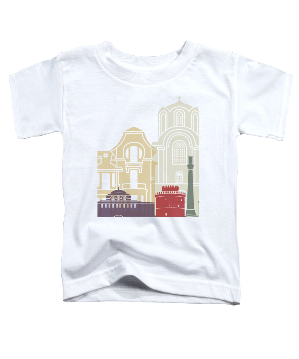 Thessaloniki Toddler T-Shirt featuring the painting Thessaloniki Skyline Poster by Pablo Romero