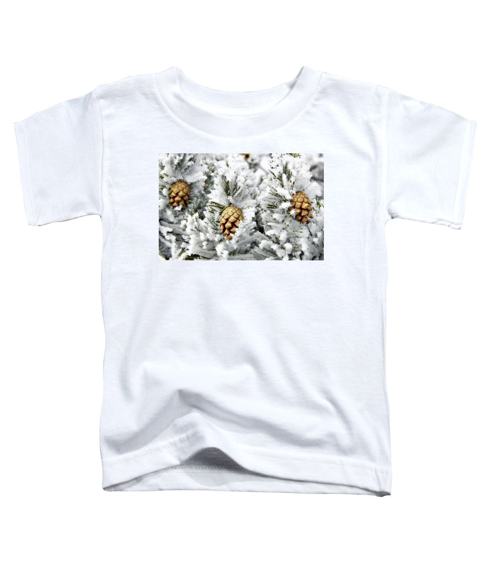 Frosty Toddler T-Shirt featuring the photograph Three Pinecones by Marilyn Hunt