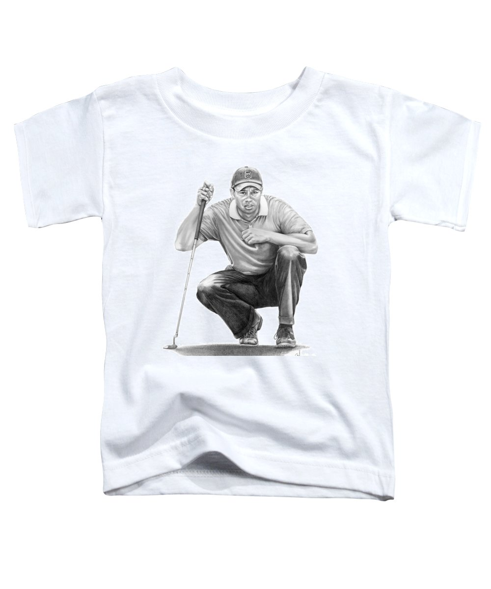 Pencil Toddler T-Shirt featuring the drawing Tiger Woods Crouching Tiger by Murphy Elliott