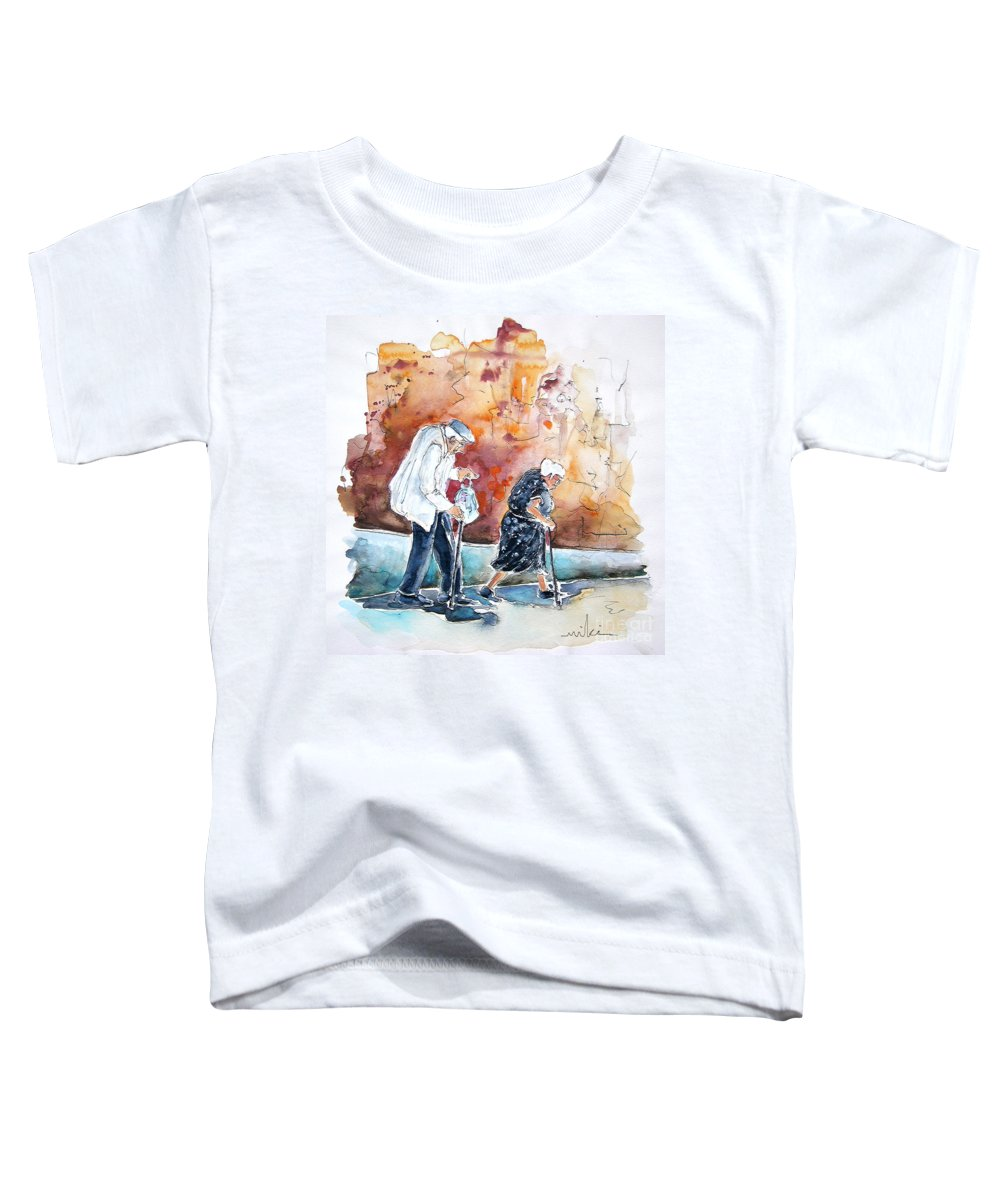 Portugal Paintings Toddler T-Shirt featuring the painting Together Old In Portugal 01 by Miki De Goodaboom