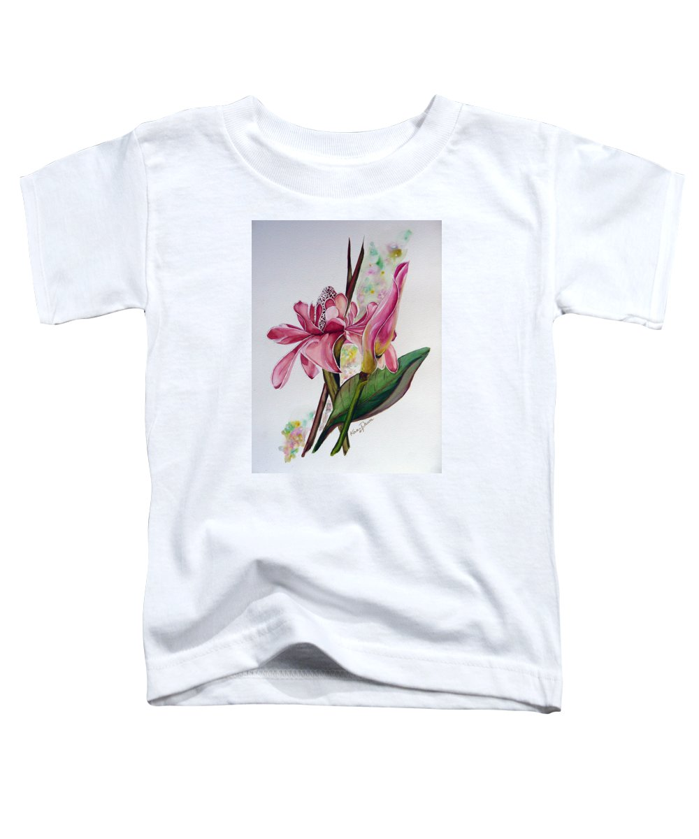 Flower Painting Floral Painting Botanical Painting Flowering Ginger. Toddler T-Shirt featuring the painting Torch Ginger Lily by Karin Dawn Kelshall- Best