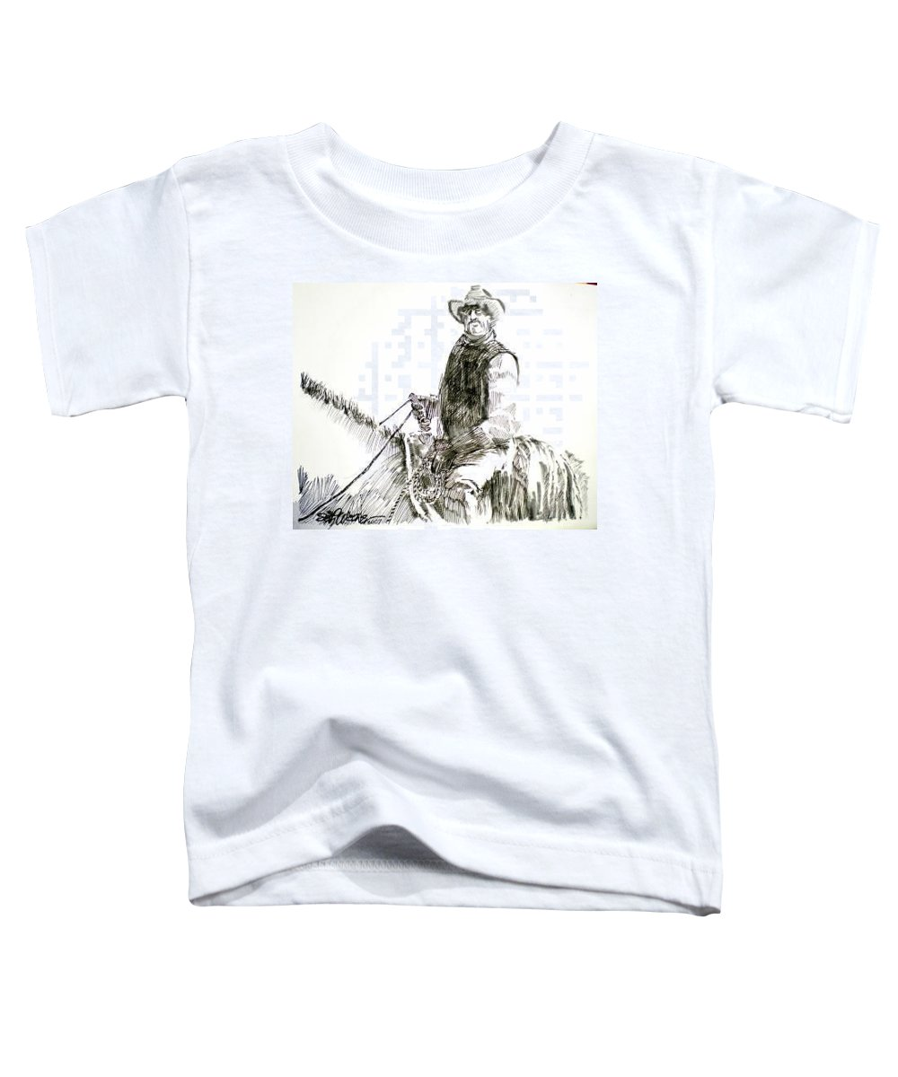 Trail Boss Toddler T-Shirt featuring the drawing Trail Boss by Seth Weaver