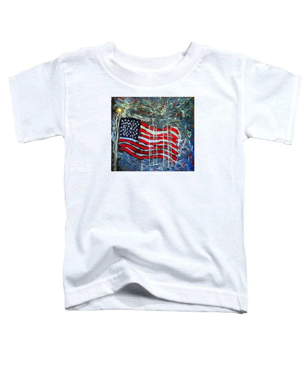 American Flag Toddler T-Shirt featuring the mixed media Tribute by J R Seymour