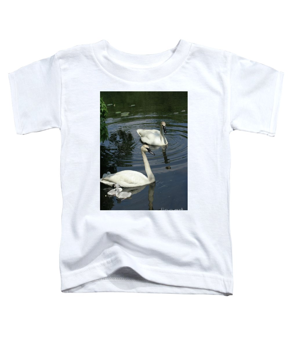 Trumpeter Swans Toddler T-Shirt featuring the photograph Trumpeter Swans by Judy Whitton