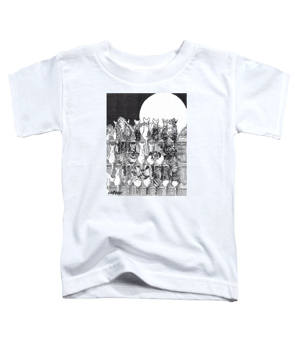 Cats Toddler T-Shirt featuring the drawing Two Dozen And One Cats by Seth Weaver