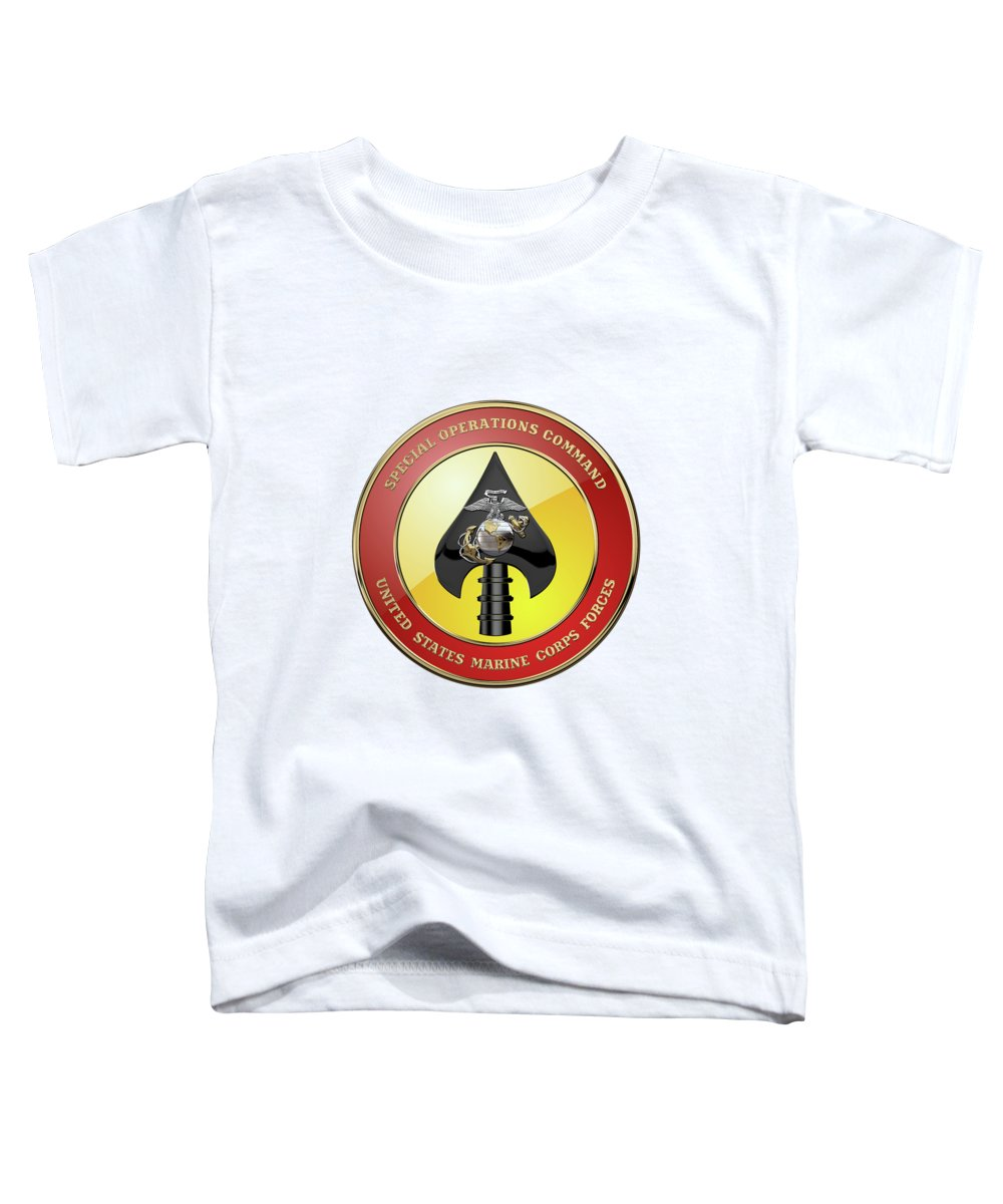 'military Insignia & Heraldry' Collection By Serge Averbukh Toddler T-Shirt featuring the digital art U S M C Forces Special Operations Command - M A R S O C Seal Over White Leather by Serge Averbukh