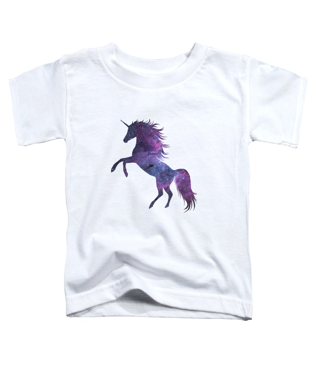 Unicorn Toddler T-Shirt featuring the digital art Unicorn In Space-transparent Background by Anna W