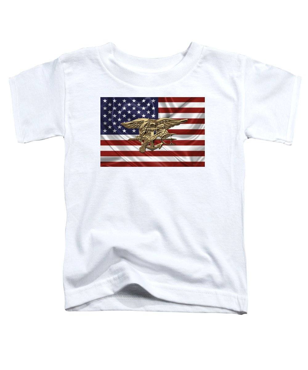 U s  Navy Seals Trident Over U s  Flag Toddler T-Shirt