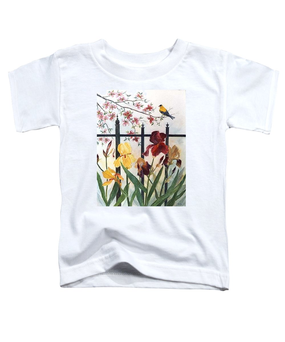 Irises; American Goldfinch; Dogwood Tree Toddler T-Shirt featuring the painting Victorian Garden by Ben Kiger
