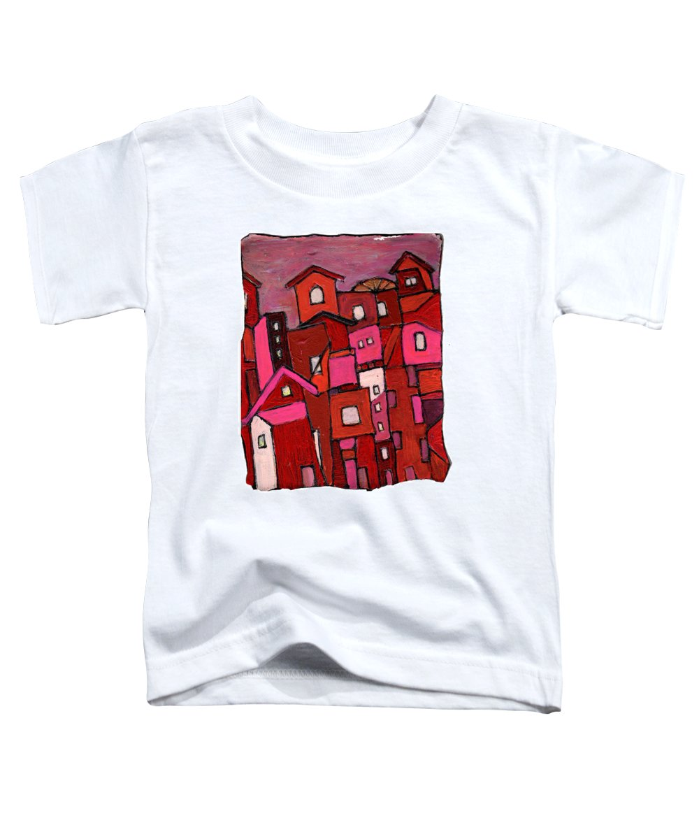 Village Toddler T-Shirt featuring the painting Village In Pink by Wayne Potrafka