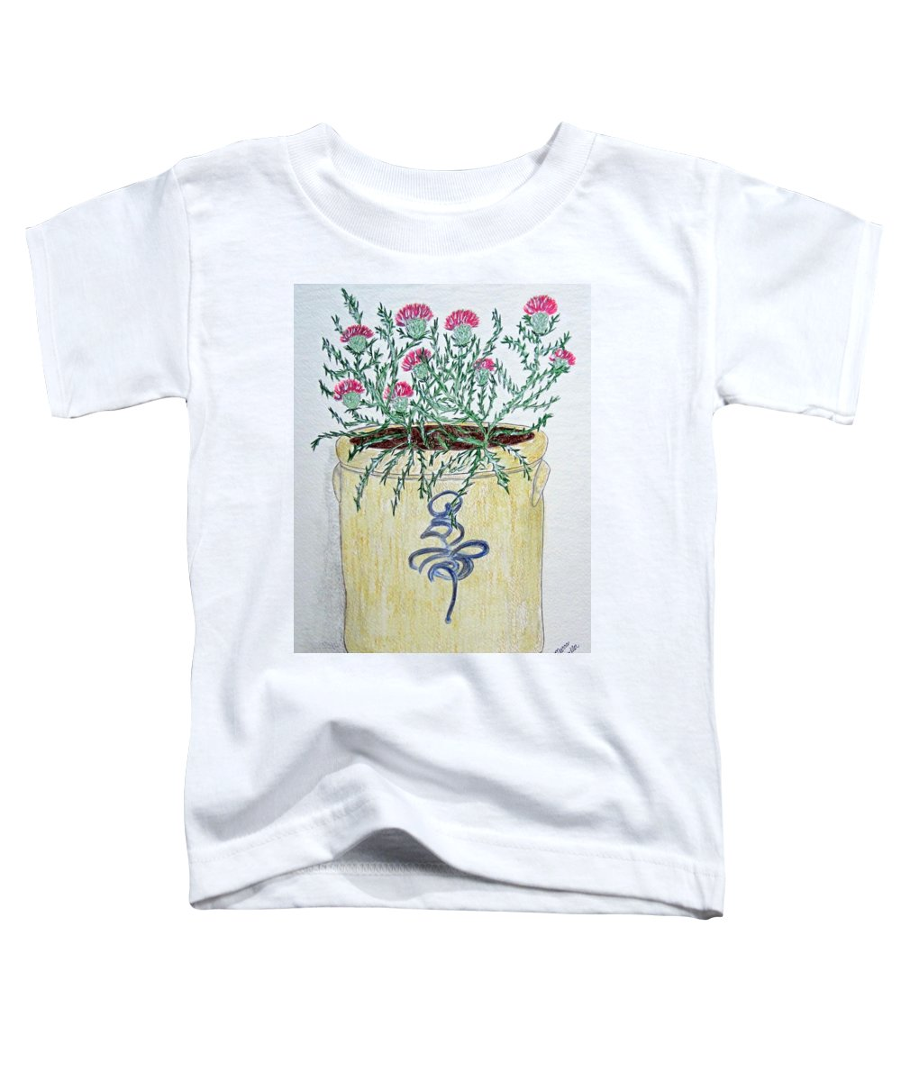 Vintage Toddler T-Shirt featuring the painting Vintage Bee Sting Crock And Thistles by Kathy Marrs Chandler