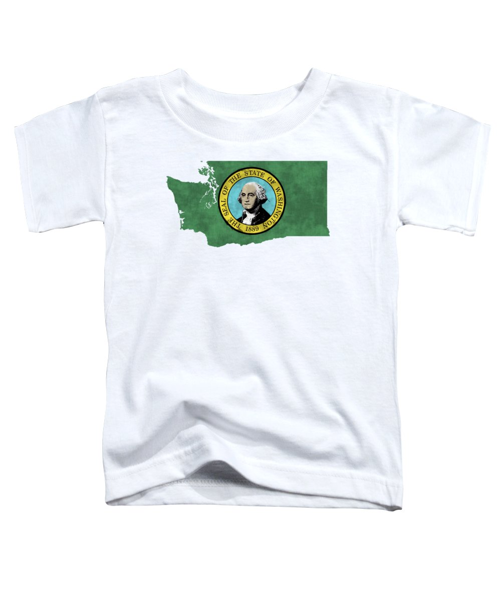 America Toddler T-Shirt featuring the digital art Washington Map Art With Flag Design by World Art Prints And Designs