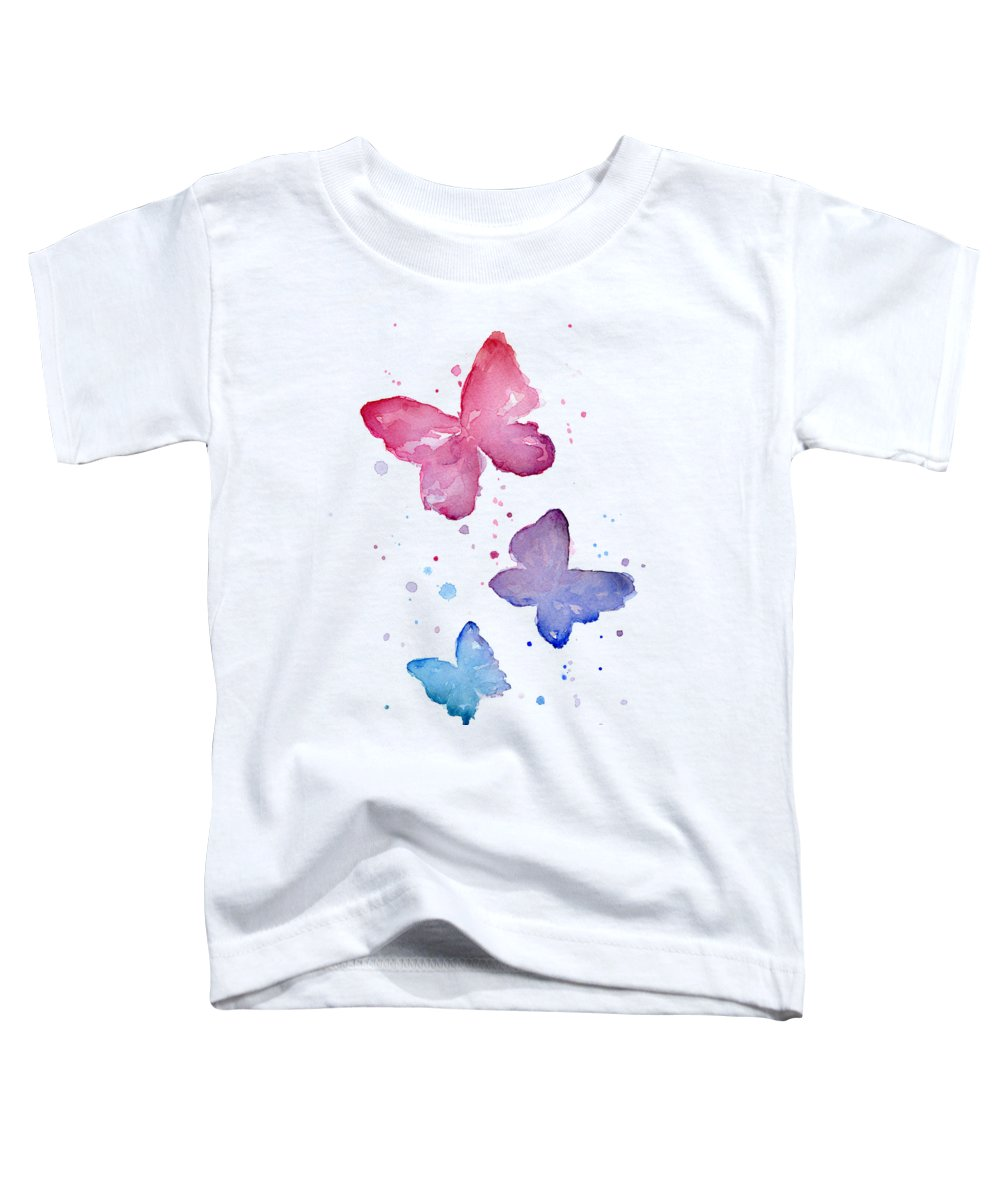 Watercolor Toddler T-Shirt featuring the painting Watercolor Butterflies by Olga Shvartsur