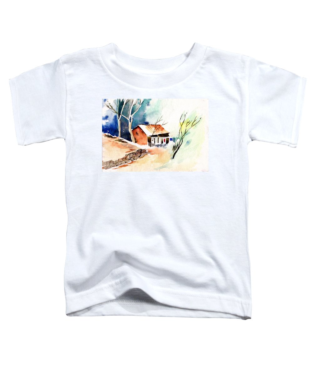 Nature Toddler T-Shirt featuring the painting Weekend House by Anil Nene