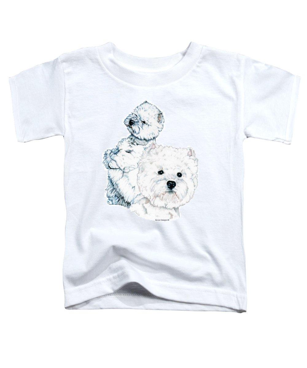 West Highland White Terrier Toddler T-Shirt featuring the drawing West Highland White Terriers by Kathleen Sepulveda